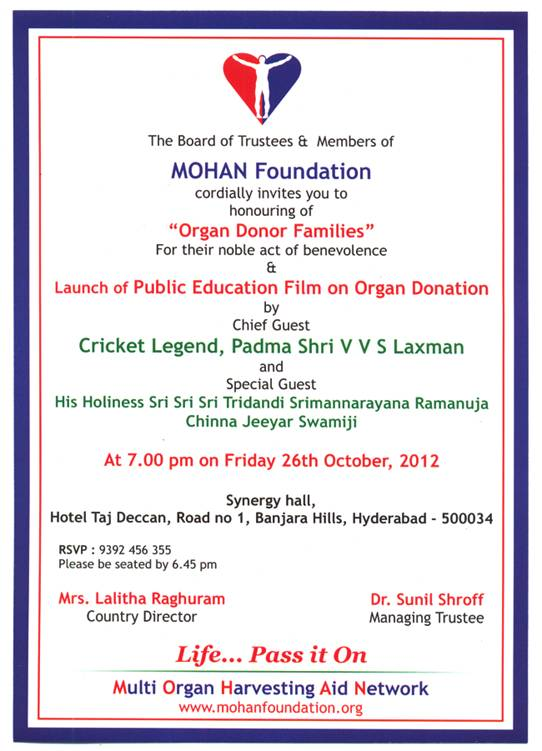 Felicitation of Organ Donor Families and Launch of Public Education