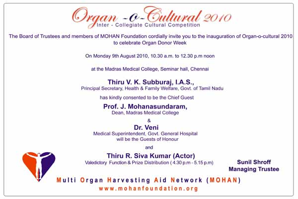MOHAN Foundation Press Release - Organ-O-Cultural 2010
