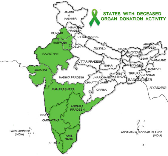 Deceased Donation Programme Location in India