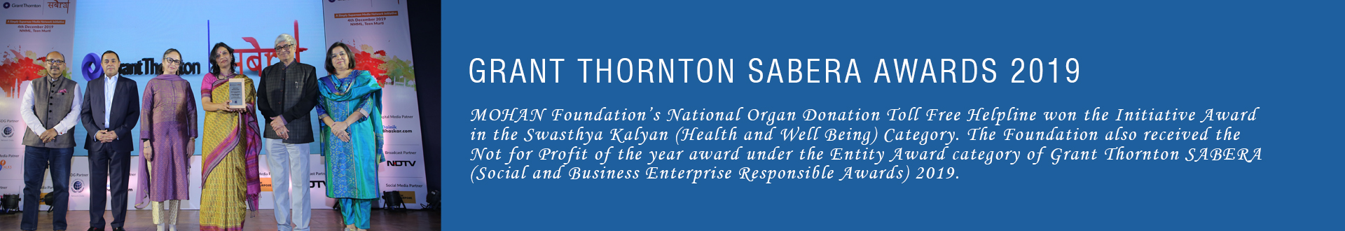 MOHAN Foundation wins at Grant Thornton SABERA