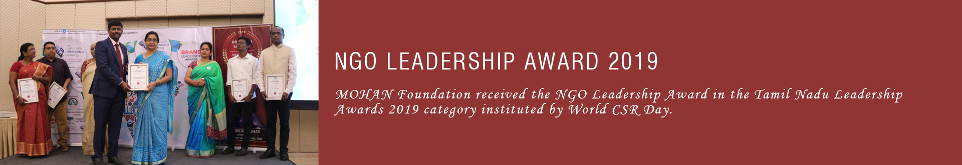 MOHAN Foundation receives the NGO Leadership Award at Chennai