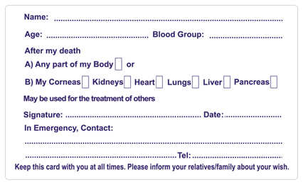 Donor Card Back