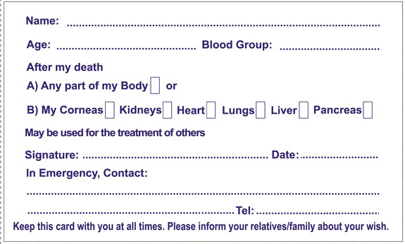 Donor Card Pledge Your Organs Online